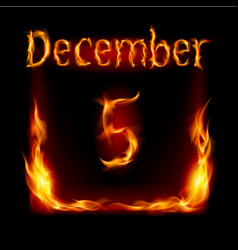 Fifth december in calendar of fire icon on black vector
