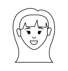 Figure people happy face woman icon vector