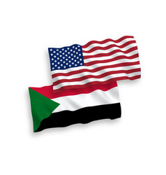 Flags sudan and america on a white background vector