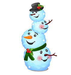 funny snowman composite consisting heads vector image