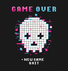 gamers t-shirt design with glitch pixel skull vector image