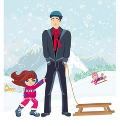 girl wants to ride on a sled vector image