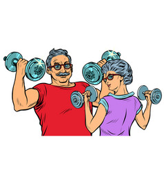 grandparents do sports fitness dumbbells vector image