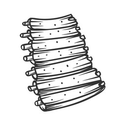 Grilled ribs outline vector