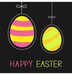 Hanging painted easter eggs with dash line and bow vector
