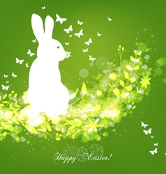 Happy easter eggs with fresh green leaves and vector