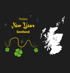 Happy new year theme with map of scotland vector