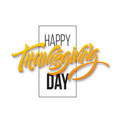 happy thanksgiving brush hand lettering vector image