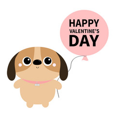 happy valentines day dog toy icon big eyes vector image