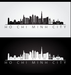 ho chi minh city skyline and landmarks silhouette vector image