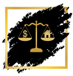 House and dollar symbol on scales golden vector