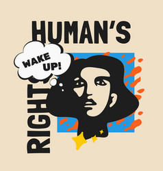 Humans rights pop style poster vector