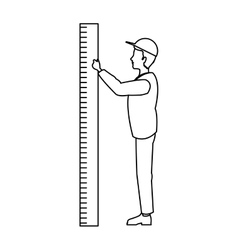 Isolated man cartoon with ruler design vector image