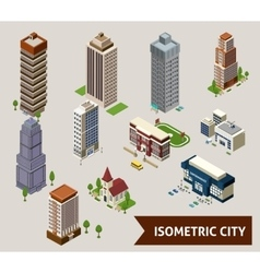 Isometric City Isolated Icons vector