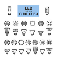 Led light gu10 bulbs outline icon set vector