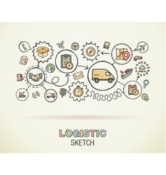 Logistic hand draw integrated icons set on paper vector image