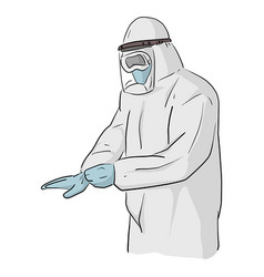 Man in a full body protective suit preventing vector