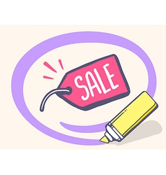 Marker drawing circle around label sale o vector