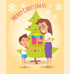 Merry christmas poster mother gives present to son vector