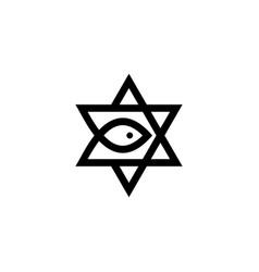 messianic judaism david star messiah fish logo vector image