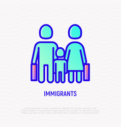 Migrants thin line icon mother father and child vector