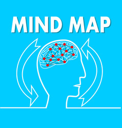 Mind map line silhouette of human head with brain vector