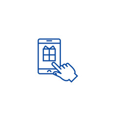 mobile shopping line icon concept mobile shopping vector image