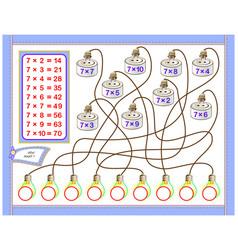 Multiplication table 7 for kids write vector