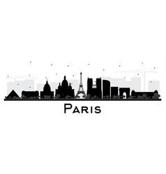 paris france city skyline silhouette with black vector image