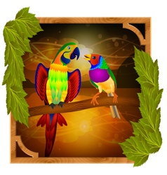 Parrot and finch vector