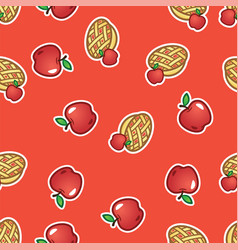 pattern apple pie on red background sweet and vector image
