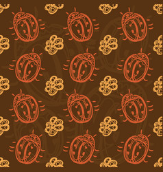 Pattern with beetles and flowers vector