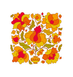 peasant style flower vector image