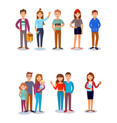 People stydents friends family kids parents vector