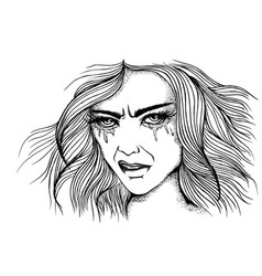 Portrait a angry girl vector