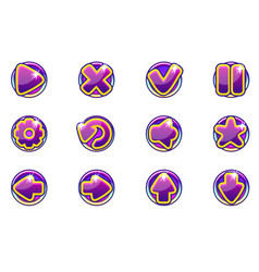 purple circles collection set glass buttons vector image