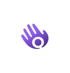 q letter hand palm hello logo icon vector image