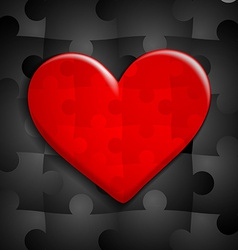 red heart of puzzle on a background of black vector image