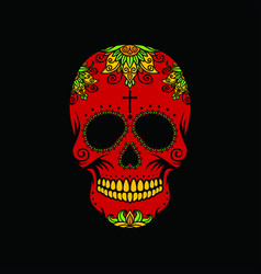 Red skull on a black background vector