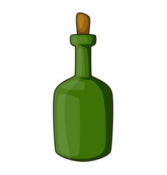 Retro green wine bottle icon cartoon style vector