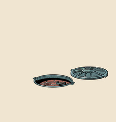 Round open sewer manhole vector