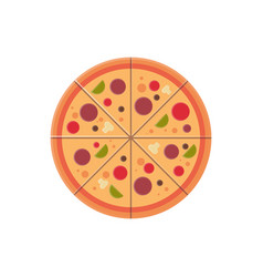 round pizza slices icon fast food menu concept vector image