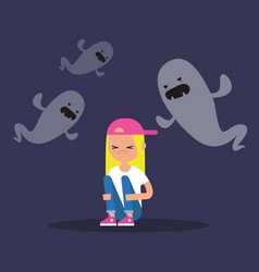 Scared blond girl surrounded by ghosts flat vector