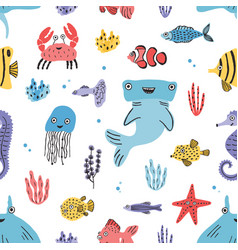 Sea life seamless pattern hand drawn algae vector