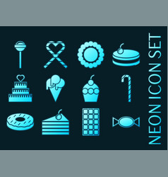 Set confectionery blue glowing neon icons vector