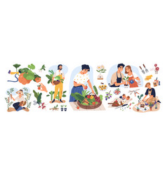 set different people enjoy gardening and vector image
