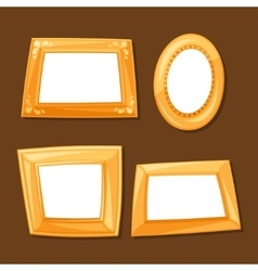 set gold various frames on brown background vector image