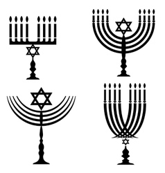 Set of Menorah Silhouettes vector