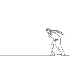 Single continuous line drawing young arab vector