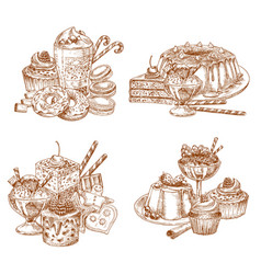 Sketch desserts and pastry for bakery shop vector